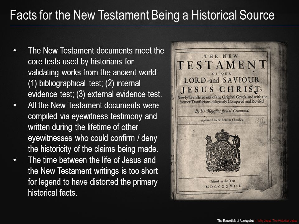Facts for the New Testament Being a Historical Source