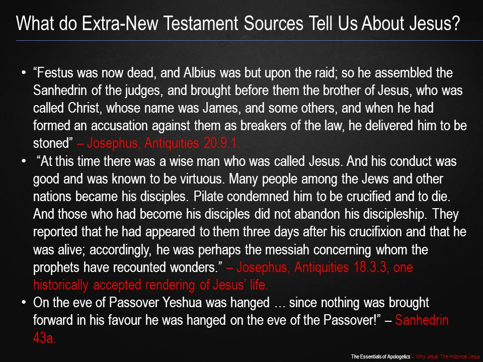 What do Extra-New Testament Sources Tell Us About Jesus