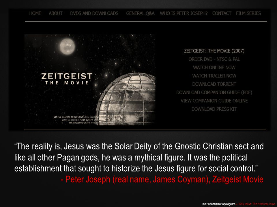 - Peter Joseph (real name, James Coyman), Zeitgeist Movie