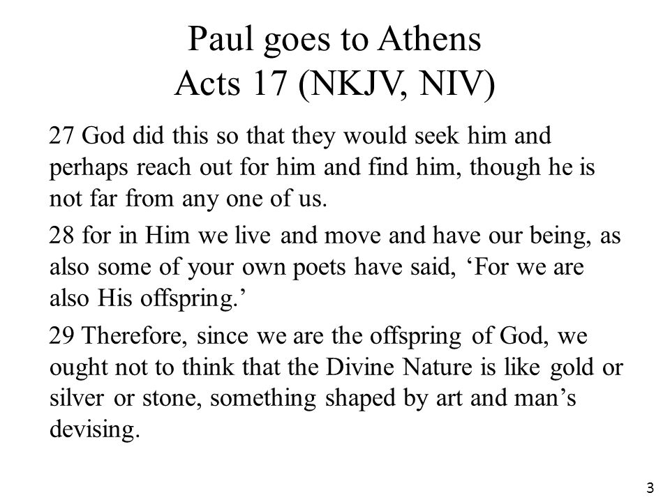 Paul goes to Athens Acts 17 (NKJV, NIV)