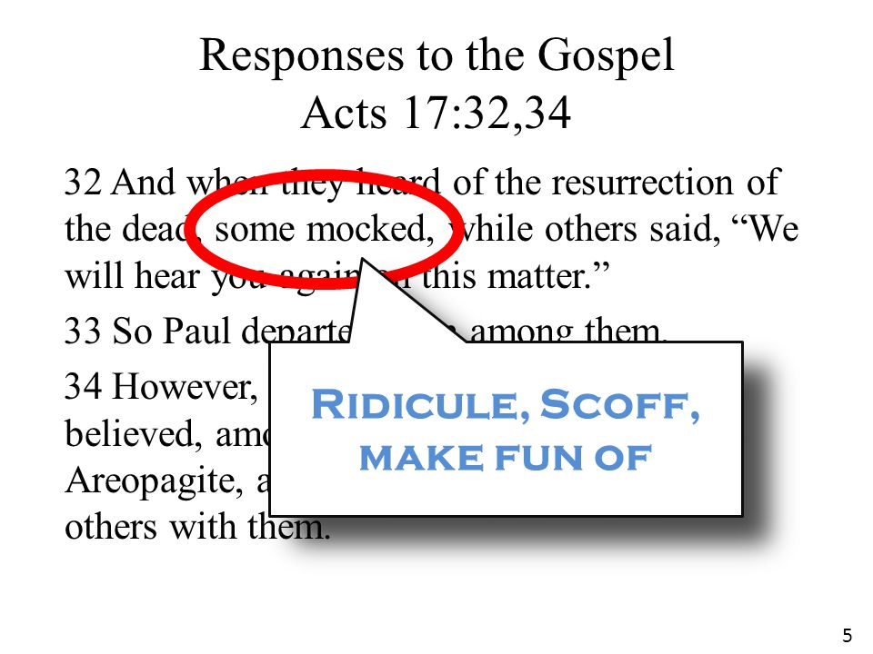 Responses to the Gospel Acts 17:32,34