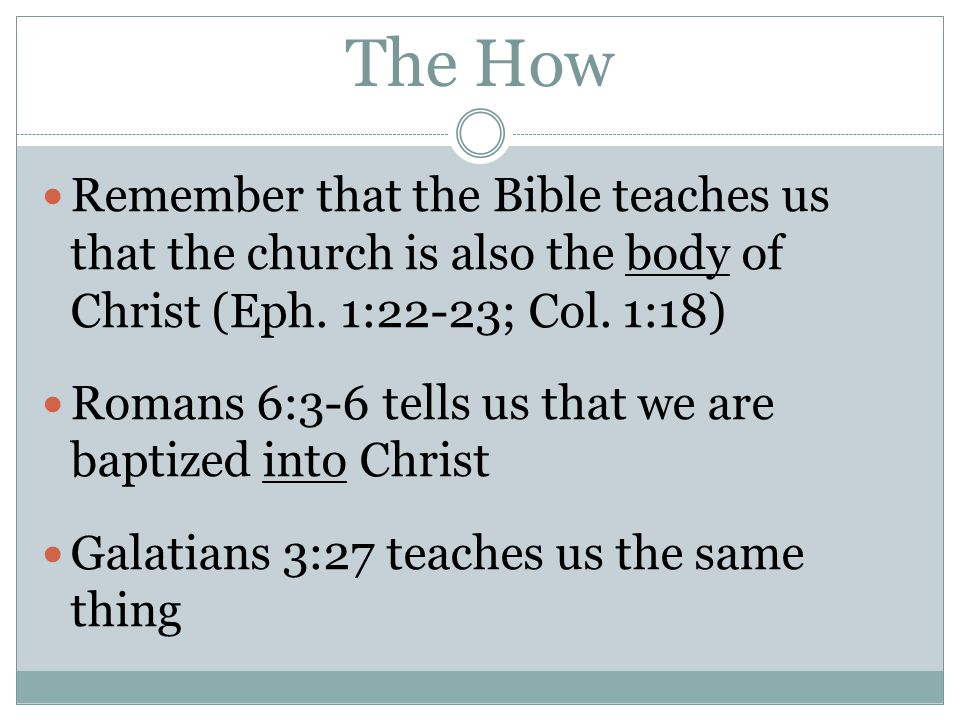 The How Remember that the Bible teaches us that the church is also the body of Christ (Eph. 1:22-23; Col. 1:18)
