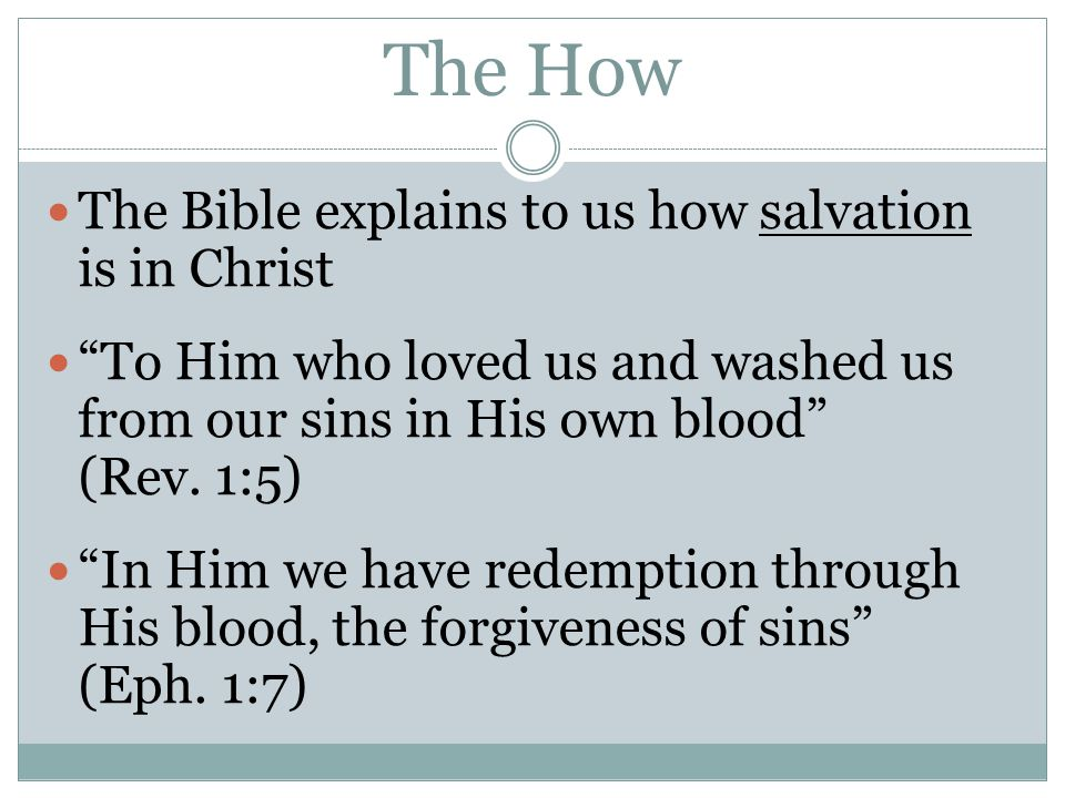 The How The Bible explains to us how salvation is in Christ