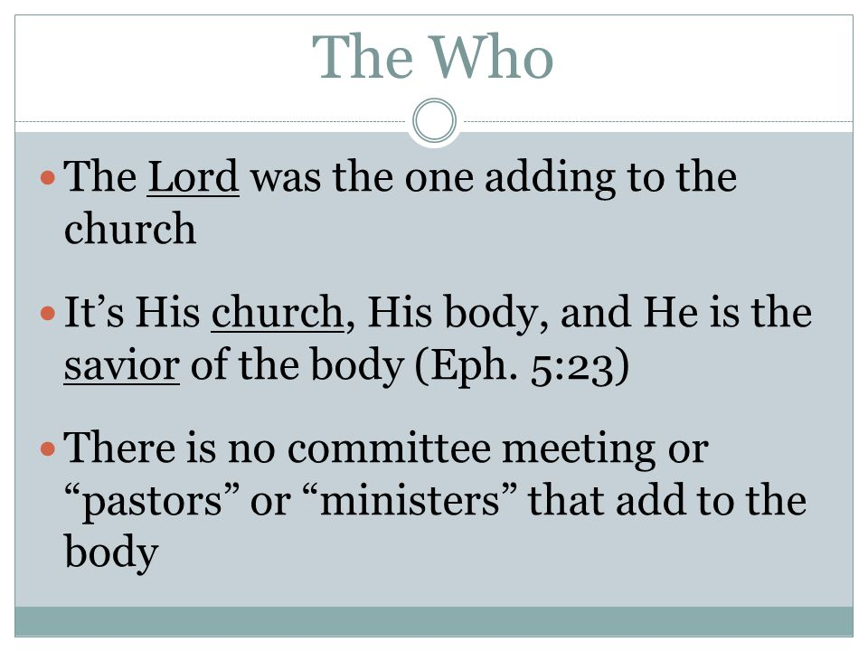 The Who The Lord was the one adding to the church