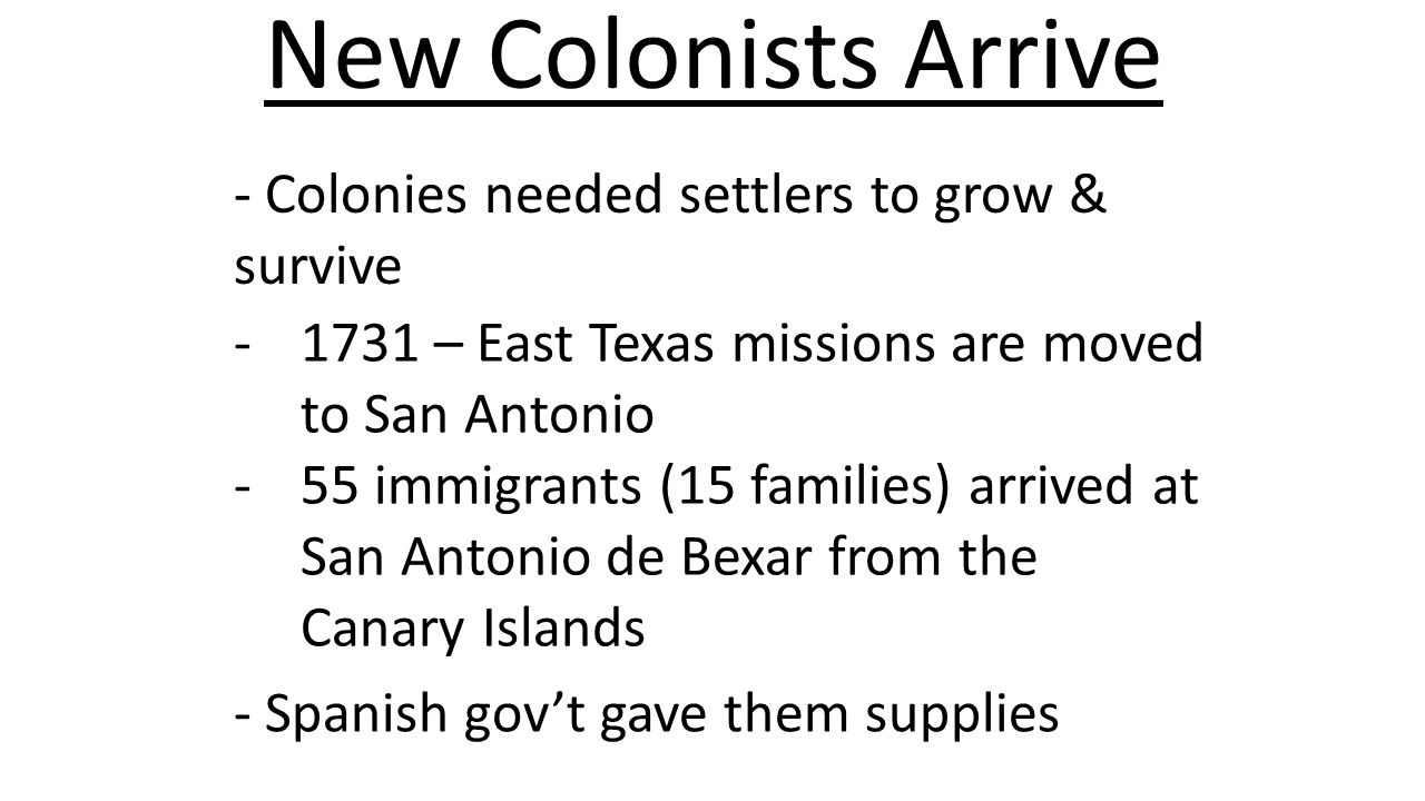 New Colonists Arrive - Colonies needed settlers to grow & survive