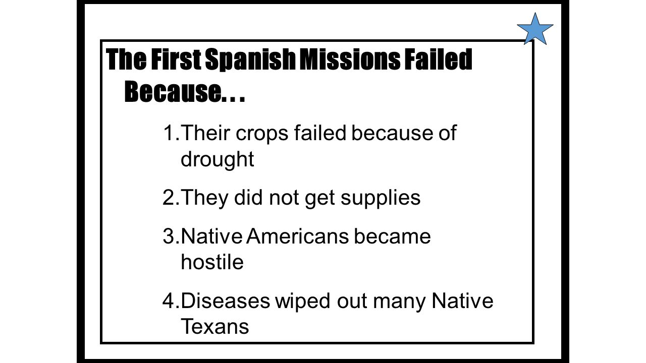 The First Spanish Missions Failed Because. . .