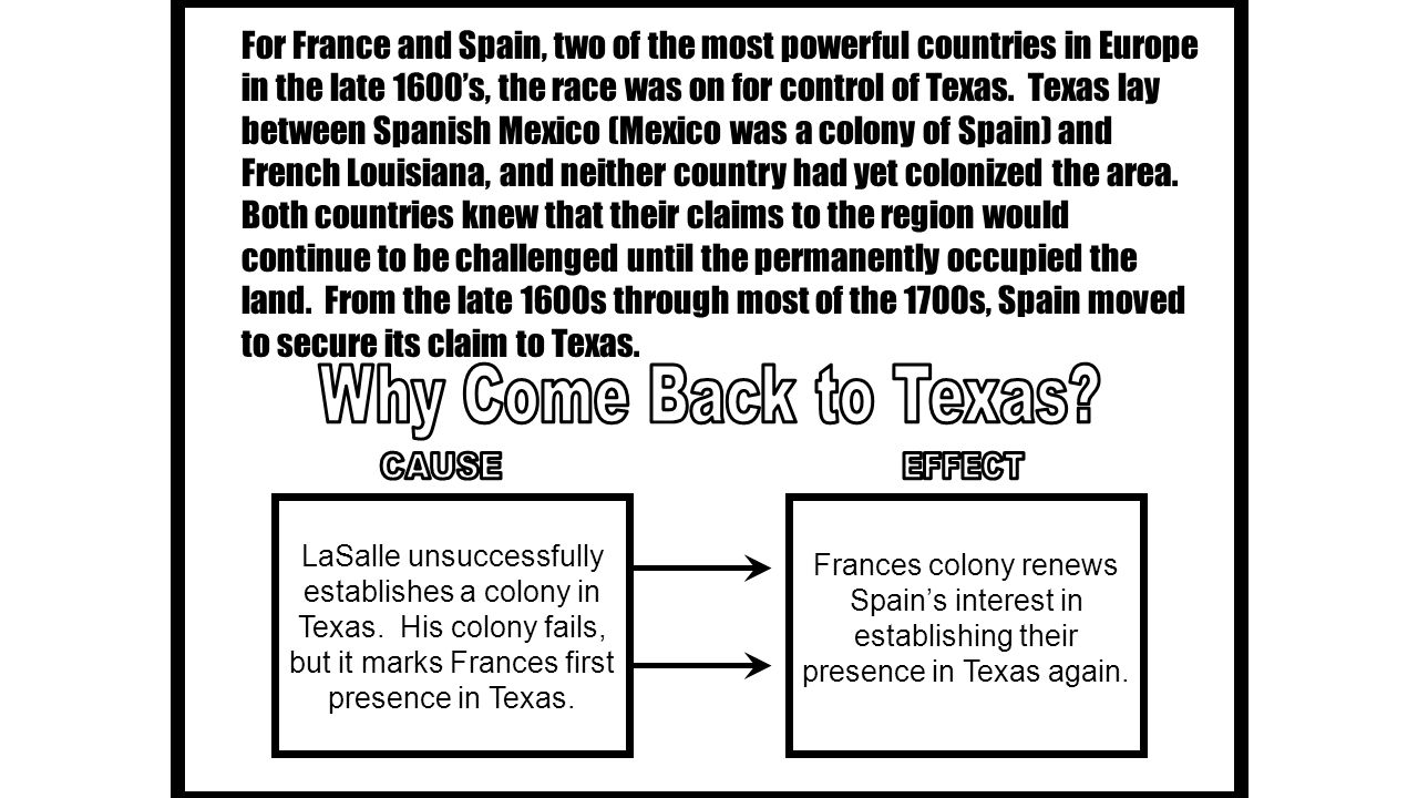 For France and Spain, two of the most powerful countries in Europe in the late 1600's, the race was on for control of Texas. Texas lay between Spanish Mexico (Mexico was a colony of Spain) and French Louisiana, and neither country had yet colonized the area. Both countries knew that their claims to the region would continue to be challenged until the permanently occupied the land. From the late 1600s through most of the 1700s, Spain moved to secure its claim to Texas.