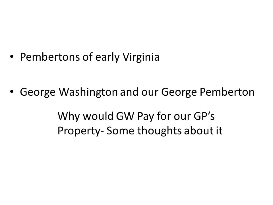 Pembertons of early Virginia