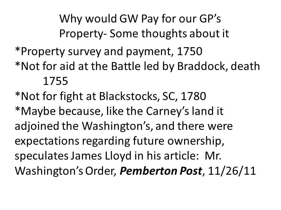 Why would GW Pay for our GP's Property- Some thoughts about it