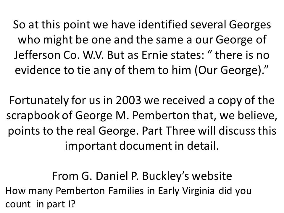 From G. Daniel P. Buckley's website