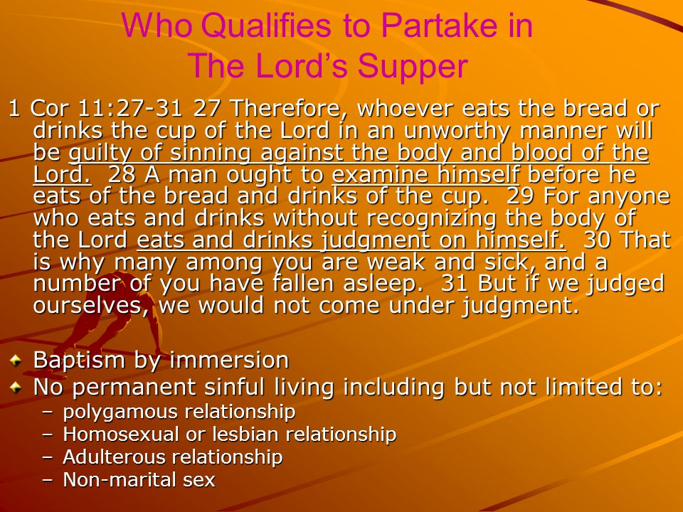Who Qualifies to Partake in The Lord's Supper