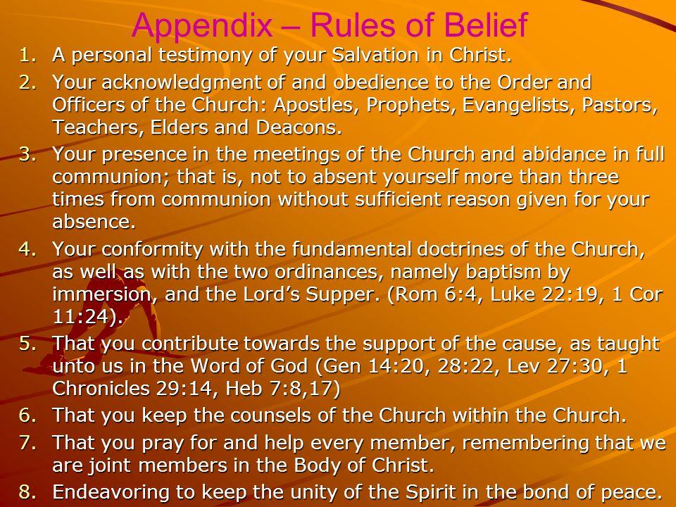 Appendix – Rules of Belief