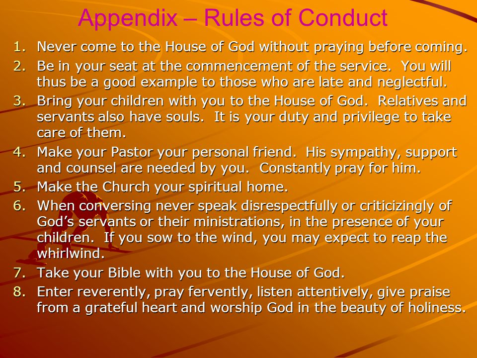 Appendix – Rules of Conduct