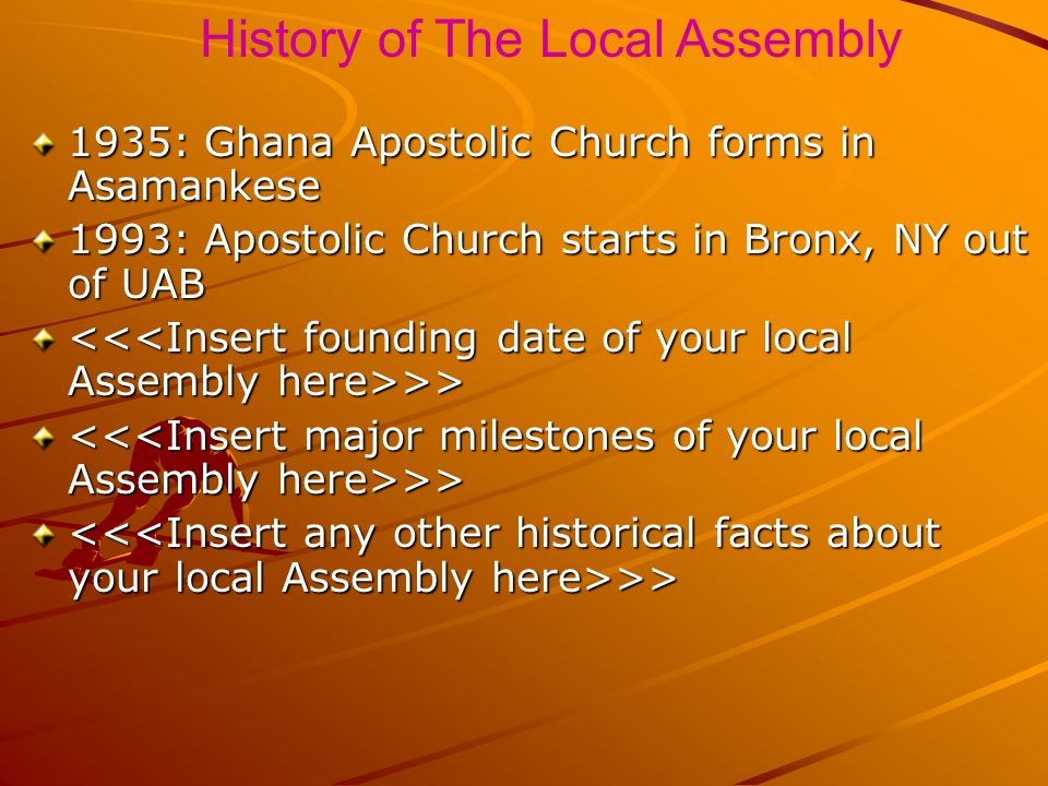 History of The Local Assembly