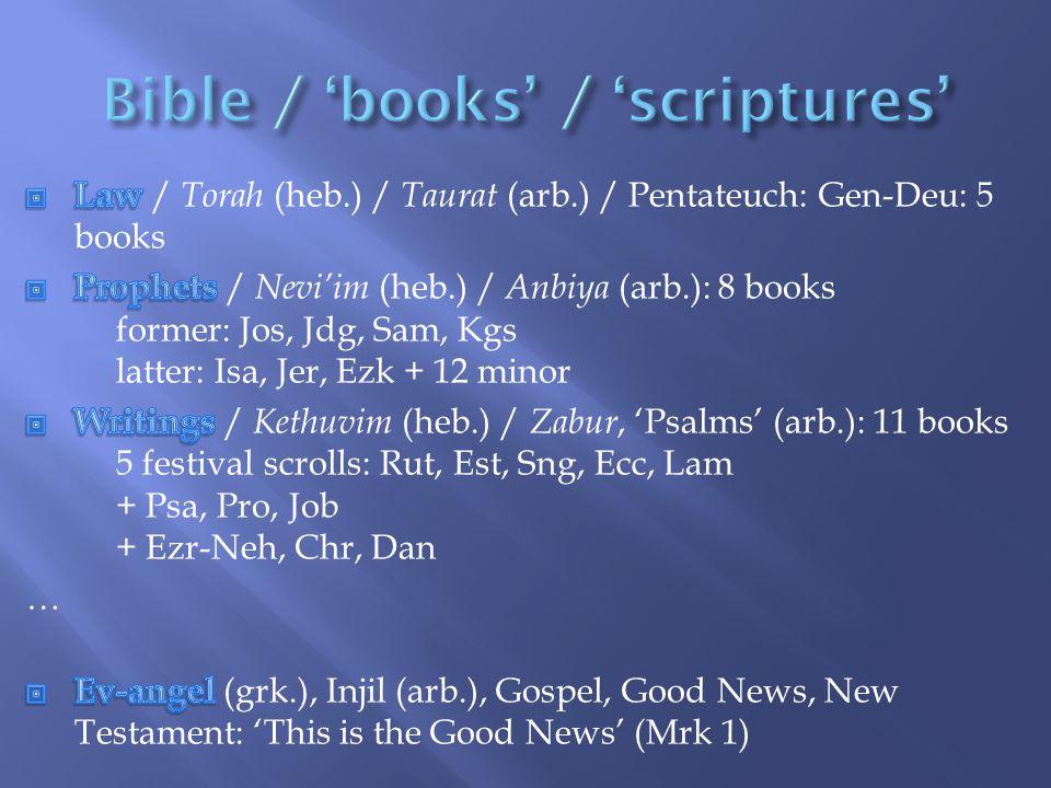 Bible / 'books' / 'scriptures'