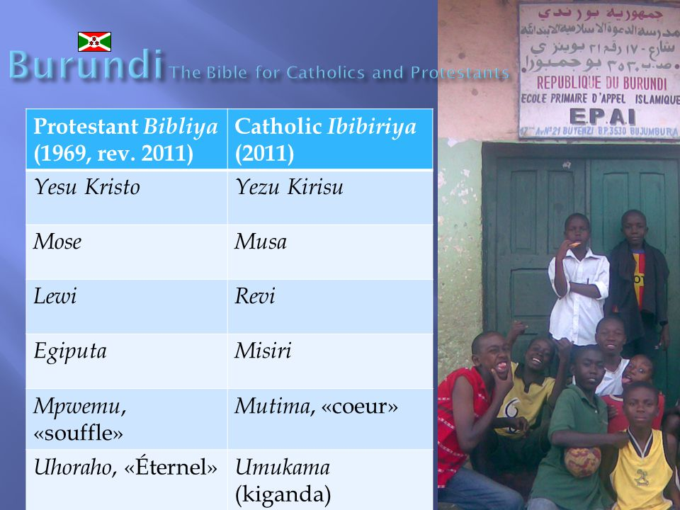 Burundi The Bible for Catholics and Protestants