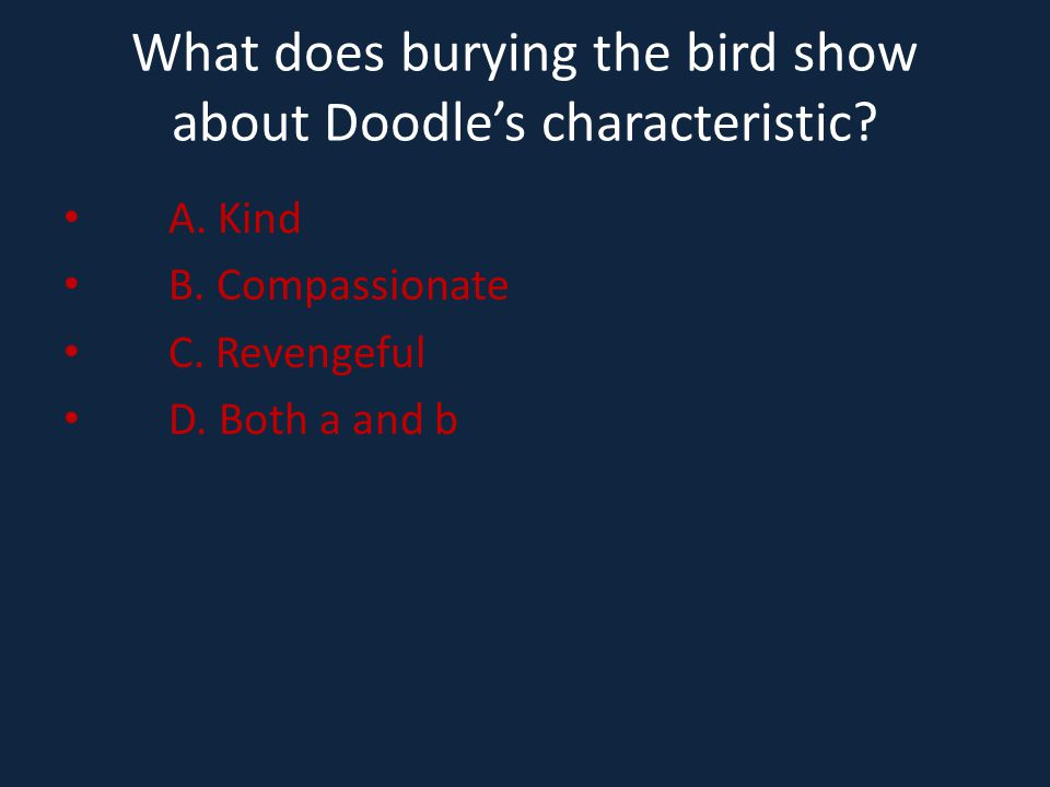 What does burying the bird show about Doodle's characteristic