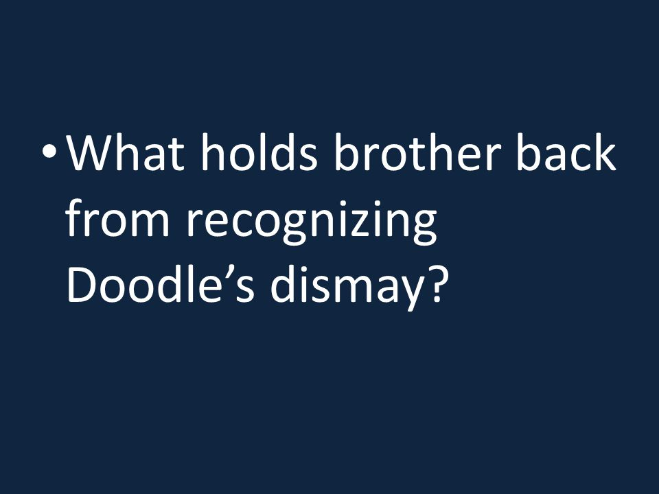 What holds brother back from recognizing Doodle's dismay