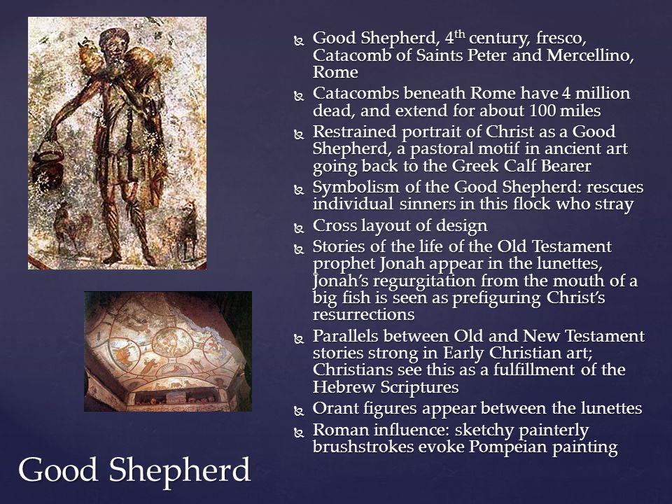 Good Shepherd, 4th century, fresco, Catacomb of Saints Peter and Mercellino, Rome