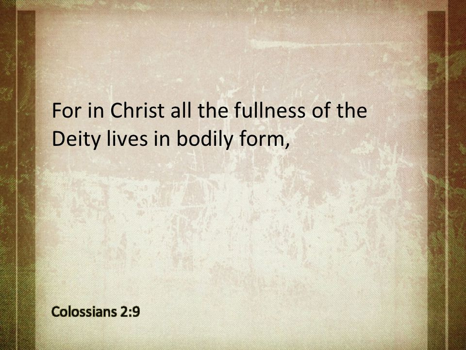 For in Christ all the fullness of the Deity lives in bodily form,