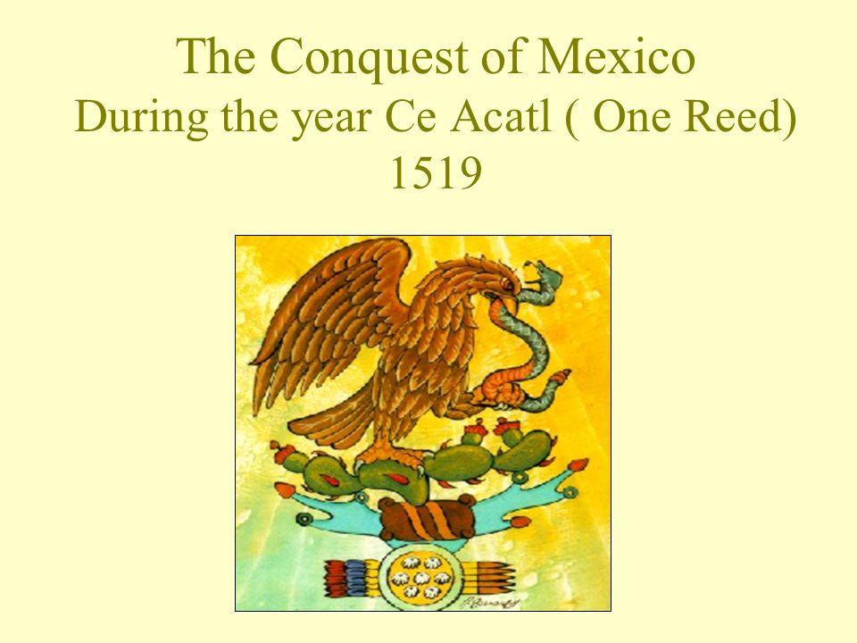 The Conquest of Mexico During the year Ce Acatl ( One Reed) 1519