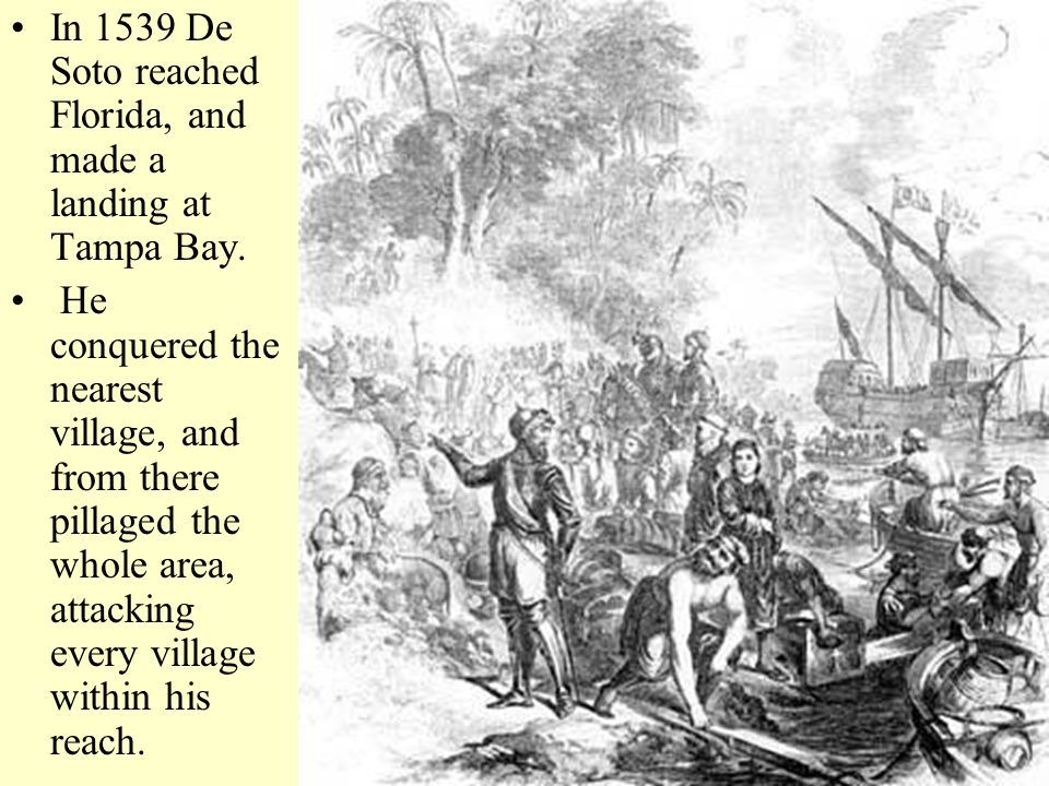 In 1539 De Soto reached Florida, and made a landing at Tampa Bay.
