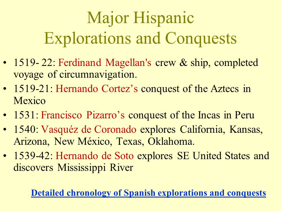 Major Hispanic Explorations and Conquests