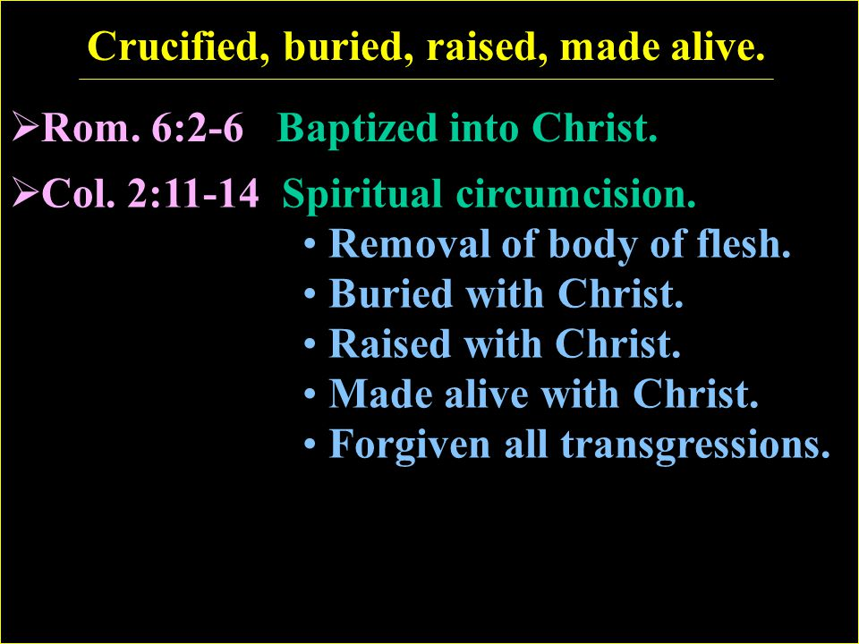 Crucified, buried, raised, made alive.