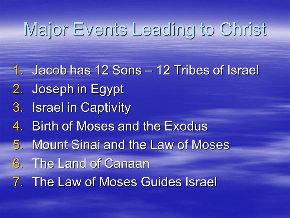 Major Events Leading to Christ