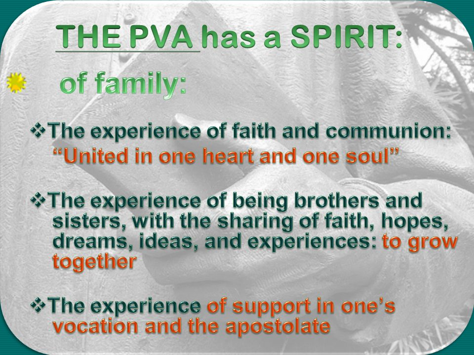 THE PVA has a SPIRIT: of family: