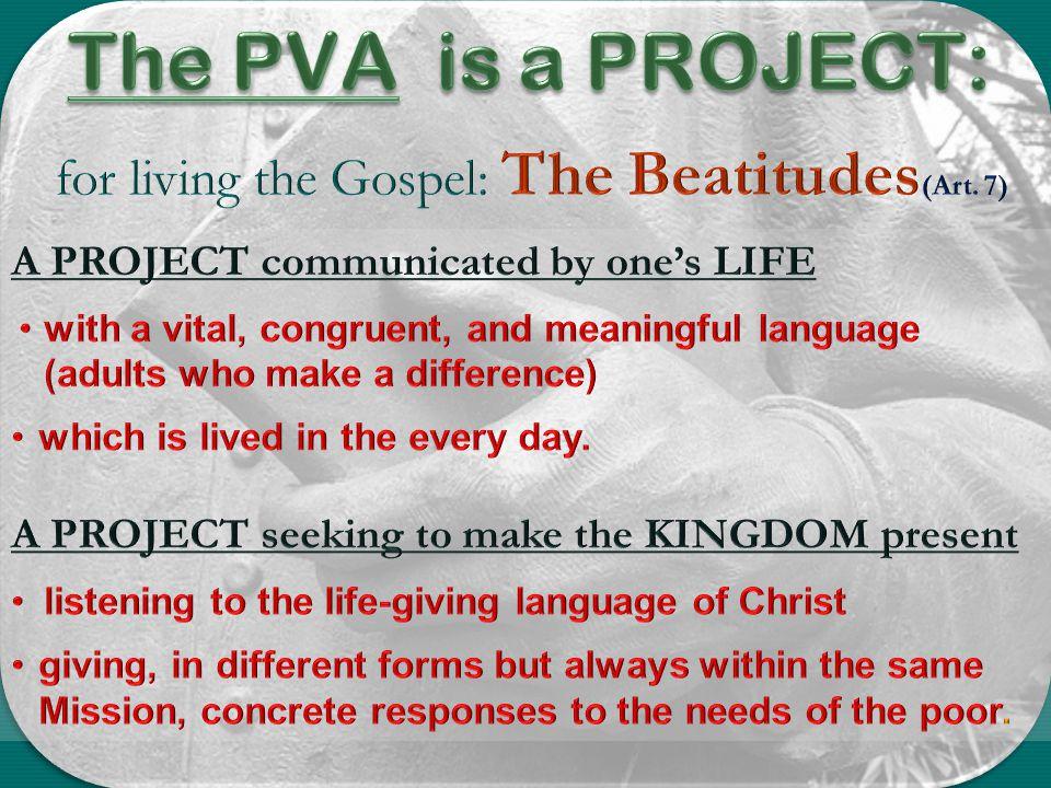 for living the Gospel: The Beatitudes(Art. 7)
