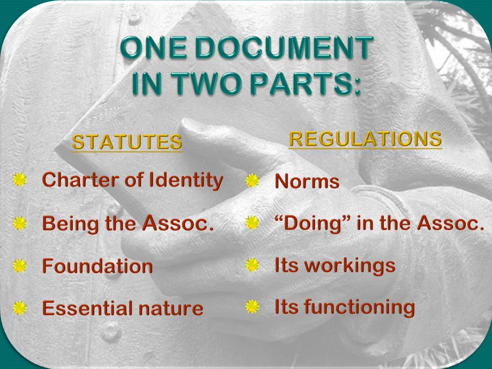 ONE DOCUMENT IN TWO PARTS: