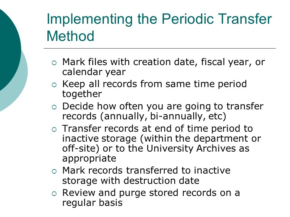 Implementing the Periodic Transfer Method