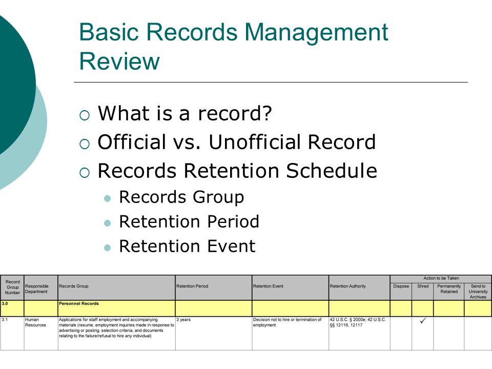Basic Records Management Review