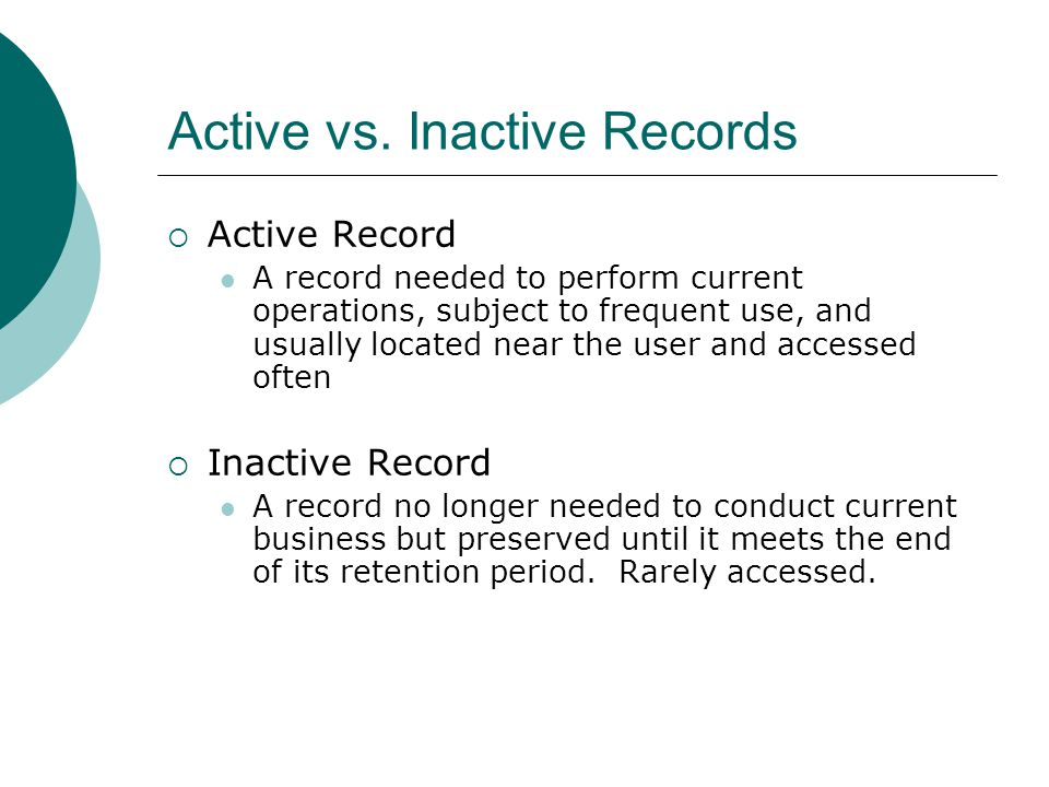 Active vs. Inactive Records