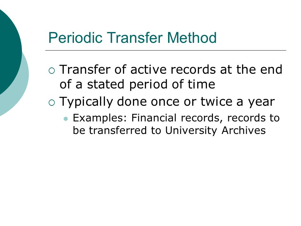Periodic Transfer Method