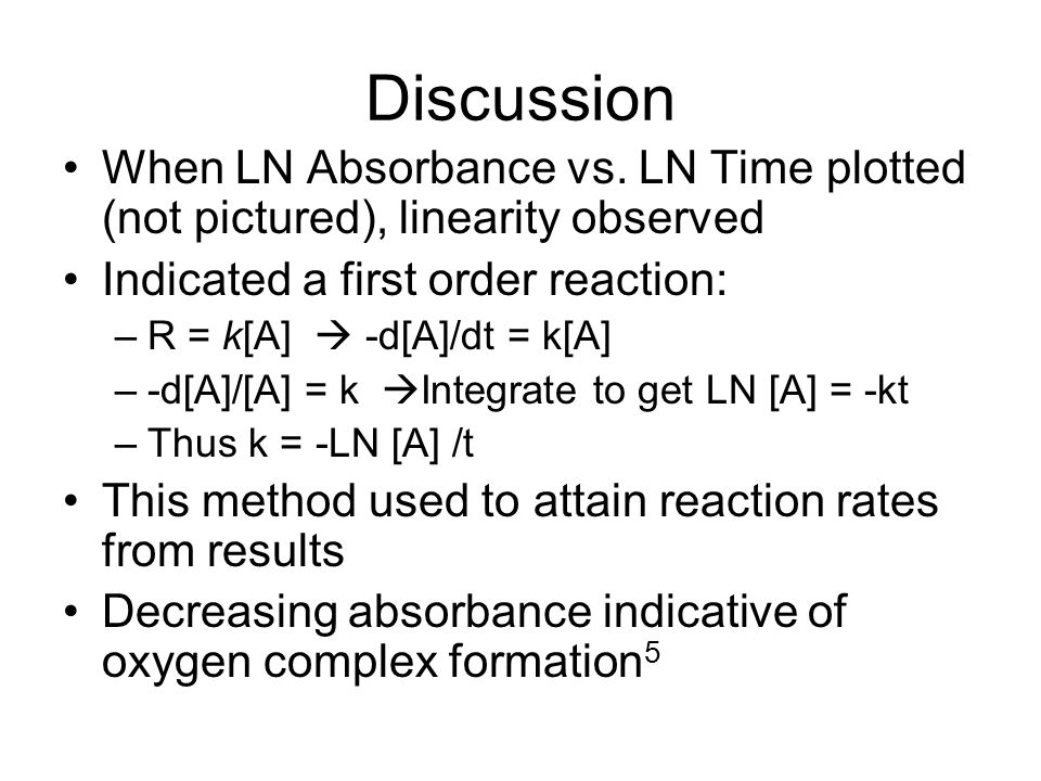 Discussion When LN Absorbance vs. LN Time plotted (not pictured), linearity observed. Indicated a first order reaction: