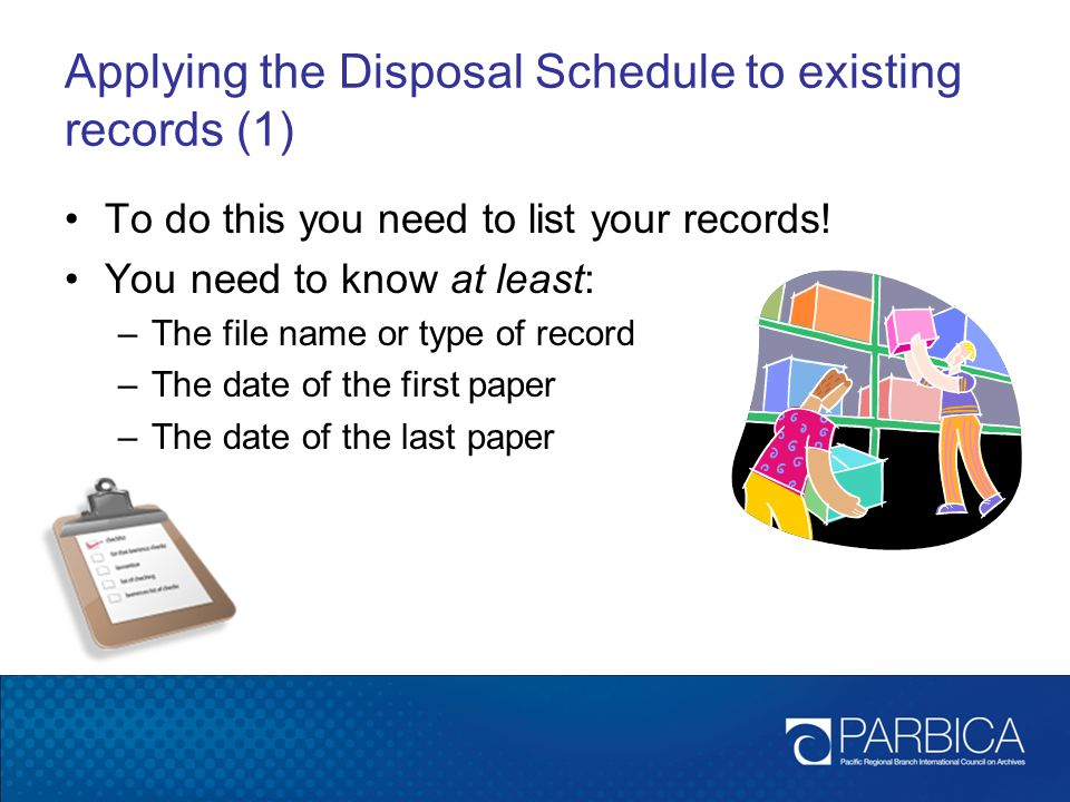 Applying the Disposal Schedule to existing records (1)