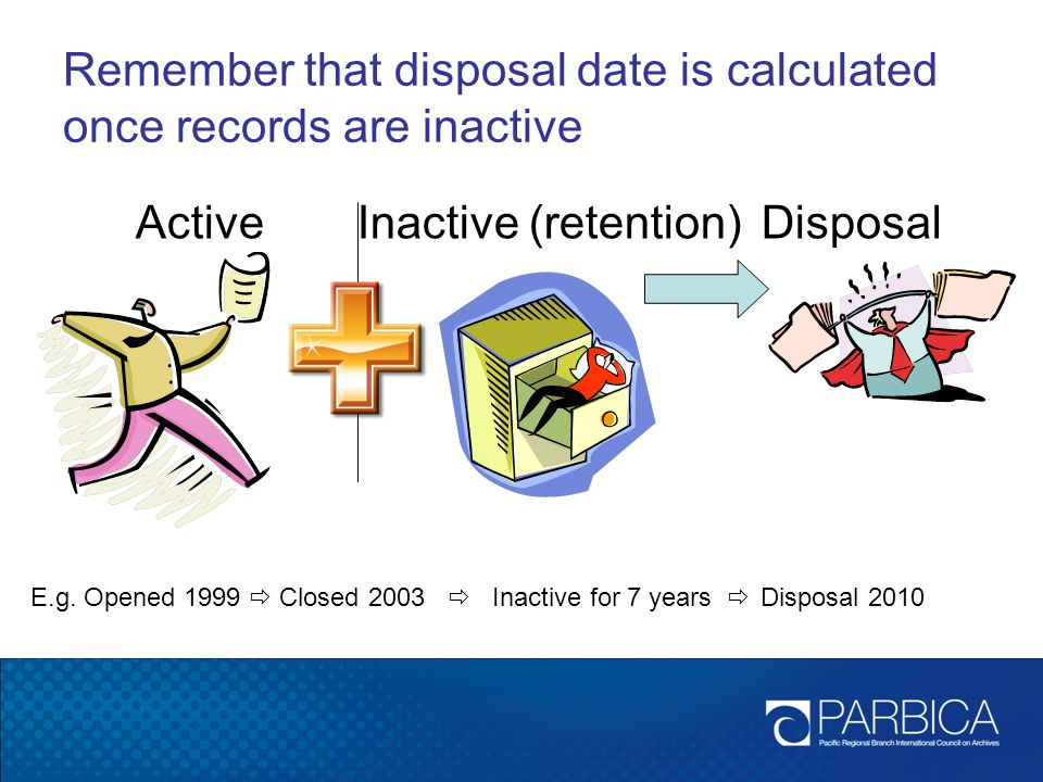 Remember that disposal date is calculated once records are inactive
