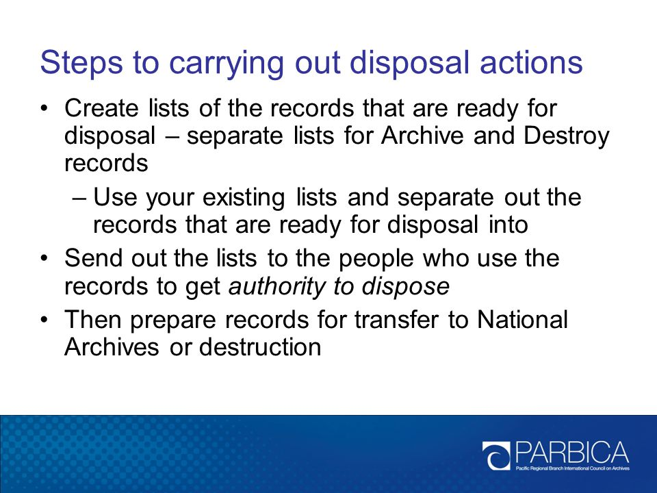 Steps to carrying out disposal actions