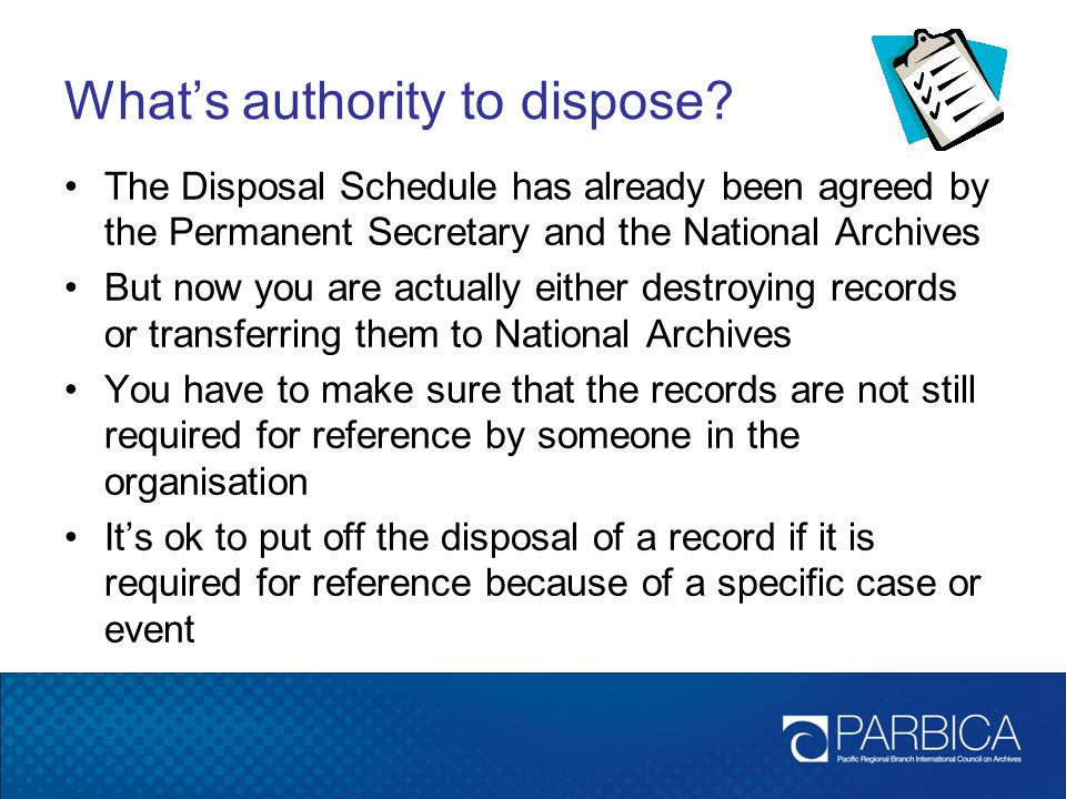 What's authority to dispose