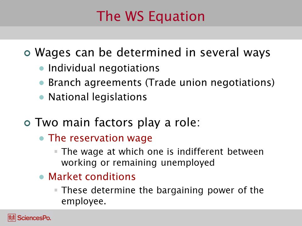 The WS Equation Wages can be determined in several ways