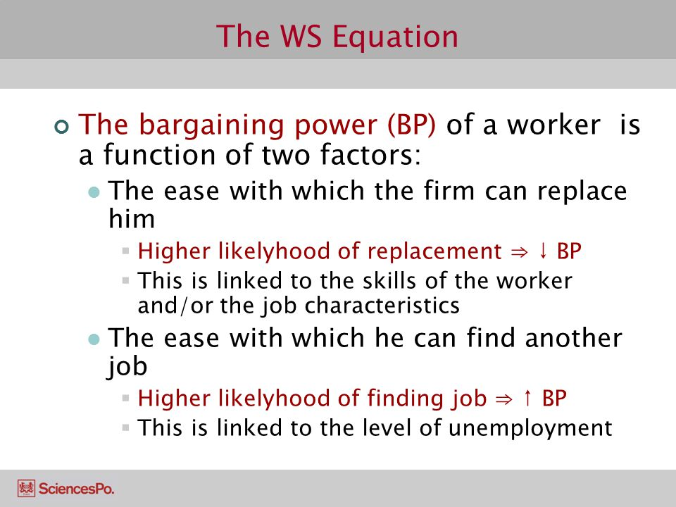 The WS Equation The bargaining power (BP) of a worker is a function of two factors: The ease with which the firm can replace him.