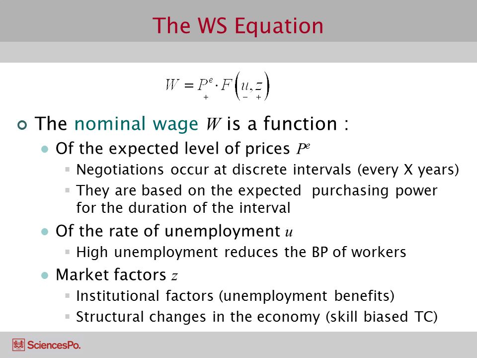 The WS Equation The nominal wage W is a function :
