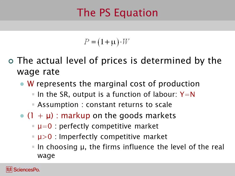 The PS Equation The actual level of prices is determined by the wage rate. W represents the marginal cost of production.