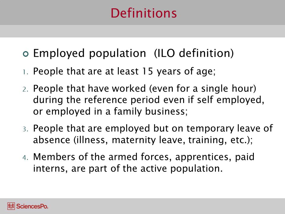 Definitions Employed population (ILO definition)