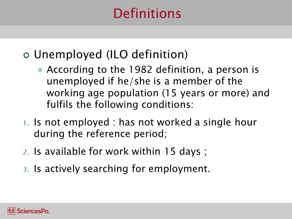 Definitions Unemployed (ILO definition)