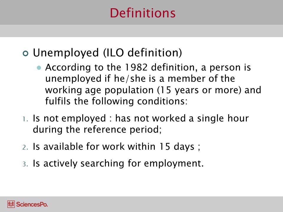 Definitions Unemployed (ILO definition)