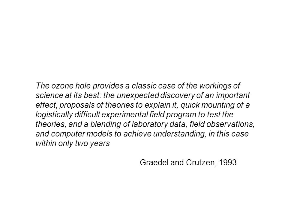 The ozone hole provides a classic case of the workings of science at its best: the unexpected discovery of an important effect, proposals of theories to explain it, quick mounting of a logistically difficult experimental field program to test the theories, and a blending of laboratory data, field observations, and computer models to achieve understanding, in this case within only two years