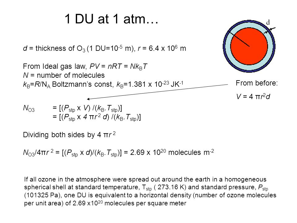 1 DU at 1 atm… d = thickness of O3 (1 DU=10-5 m), r = 6.4 x 106 m